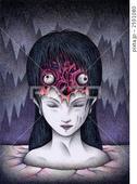 目玉・眼球・女性・毛髪・髪の毛