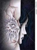 視線・凝視・横顔・女性・壁