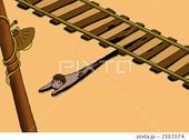 線路・鉄道・電柱・裸電球・人