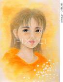 眼差し・視線・オレンジ色・愁い