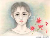 悲しみ・涙・赤い花・花びら・グレー
