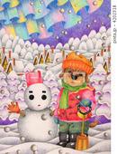 子犬・雪だるま・雪山・雪化粧・雪遊び