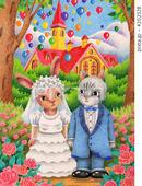 猫・兎・結婚式・教会・薔薇の花・風船