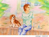 午後のひと時・陽光・愛犬・コテージ・裏庭