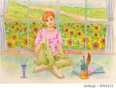 夏の日差し・向日葵・ひまわりの花・花畑・窓風景