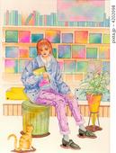 書店・本屋・ブックストア・本棚・ブックエンド・スツール・学生