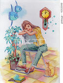 パイプ椅子・観葉植物・柱時計・本・猫・マンボウ・夢心地