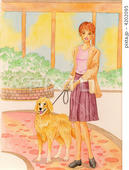 ゴールデンレトリバー・愛犬・散歩・庭先・植木・玄関周り