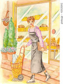 ベーカリーショップ・パン屋・店先・ショッピングカート・バケット