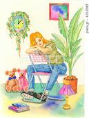 うたた寝・休息・ジーンズ・壁掛け時計・観葉植物・ランプ