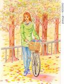 自転車・サイクリング・林・自然公園・落葉・紅葉・黄葉