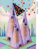 タワー・四角錐・ピラミッド・風船・紫色