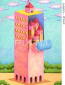 ビルディング・塔・タワー・赤色・広場・流れる雲