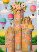 花・フラワー・花束・気球・熱気球・建物・ビル