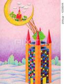 タワー・塔・三日月・教会・砂丘・砂漠