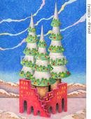 クリスマスツリー・タワー・赤い壁・平地・空地・星空