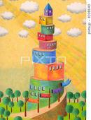 積み木・カラーブロック・木の玩具・鯉のぼり・林・陽光