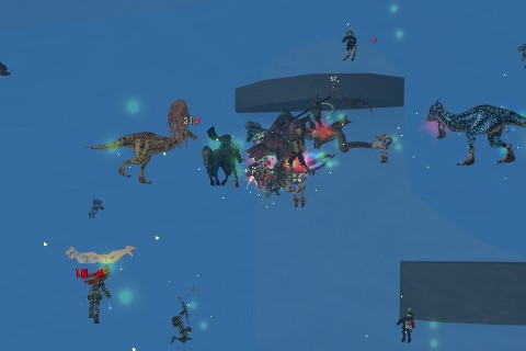玉になってWGKに群がるペットと召喚たち、少し離れた場所からは弓を持ったPC達が「玉」を取り囲む。召喚ペットやPC達にはハンズオブカースの着弾エフェクトが見える:ChaosAge・水の門