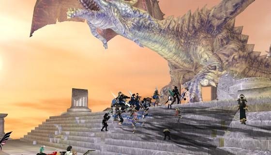 LoCに向かうPC達。向かって右側に布陣し、踊り場上と下のそれぞれに固まって交戦している:天の門
