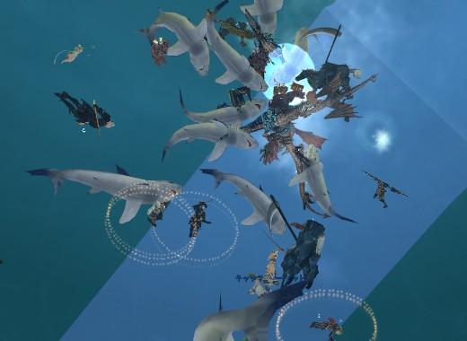WGK第一形態に群がるペット召喚たち。中にはサメの姿が10体ほど見える。PC達は攻撃したりキャッチタゲで位置調整をしたり