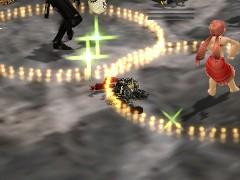 死んで横たわるモニ(私)と隣ではダンスを踊るモニ女性:冥の門