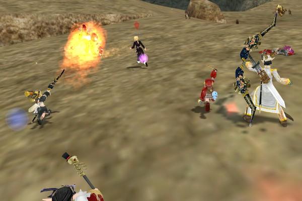 ガーディアンと戦うPC達:エルビン山脈
