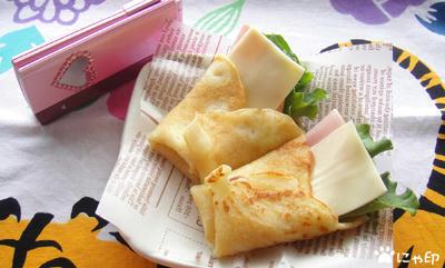 今日のミニ弁当「ハムチーズレタスのクレープ」