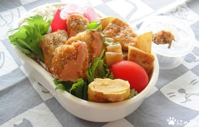 今日のMy弁当「まぐろフライ&大根と豆腐の柚子こしょう炒め」