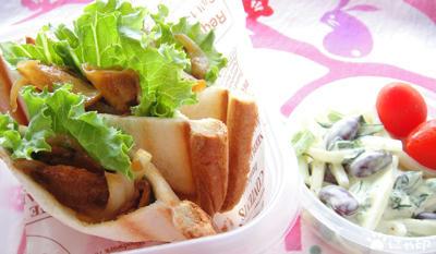 今日のMy弁当「食パンでピタパン風の焼き肉サンド」