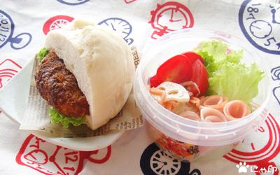 今日のMy弁当「角煮バーガーみたいなコロッケバーガー」