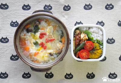 今日のMy弁当「玉子入り中華デトックススープ&ホイコーロー」