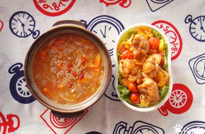今日のMy弁当「中華風デトックススープ&から揚げスイートチリソース丼」