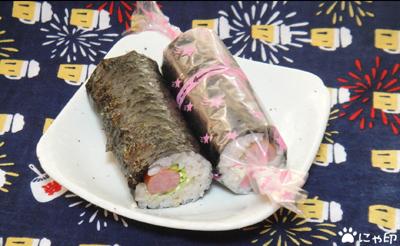 今日のMyリハーサル弁当「ウィンナーの巻き寿司」