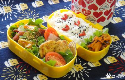 今日のMy弁当「豆腐のパン粉焼き&ウィンナーと野菜のめんつゆケチャップ」