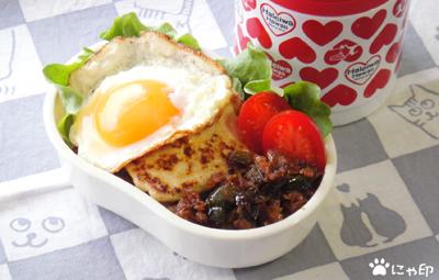 今日のMy弁当「冷凍豆腐そぼろとピーマンのオイスター炒めと豆腐ステーキのっけ丼」