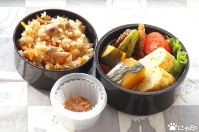 今日のMy弁当「土鍋で炊いた、しめじごはん」