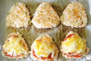 今日のMyミニ弁当「ケチャップ&チーズの焼きおにぎり」