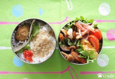 今日のMy弁当「ウィンナーと野菜の中華風炒め&ツナみたいな味がするサラダ」