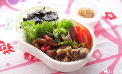 今日のMy弁当「れんこんとしめじのマスタード炒め。と、実山椒の佃煮。」