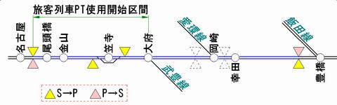 東海道線(名古屋~豊橋)のATS-PT整備状況(2011年1月末時点)