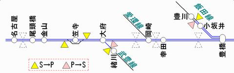 東海道線豊橋方ATS-PT使用区間 2011年2月末