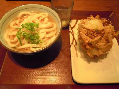 楽釜製麺所のかけうどん+自慢のかき揚げ