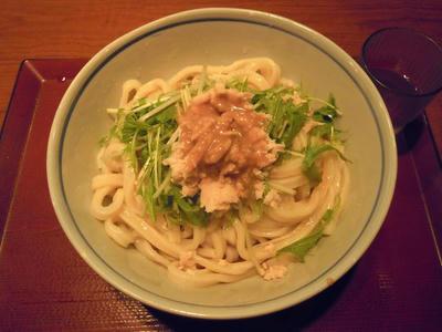 楽釜製麺所 蒸し鶏と京菜の胡麻だれうどん