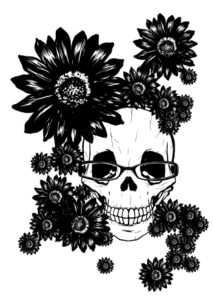花とメガネとドクロマーク