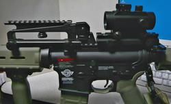 キングアームズハイマウントベースとSHS M16キャリハンマウントとG&G CM16