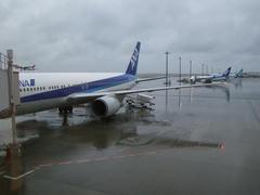 生憎の天気…奥には、旧全日空塗装の飛行機が…