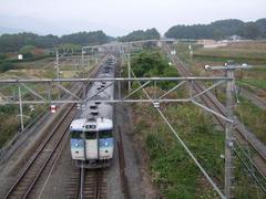 電車は中央線で、右に離れていく線路が小海線です