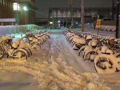 自転車のサドルにも、こんなに雪は積もるのかと…