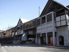 ユニークな外観の川治温泉駅