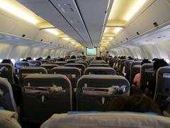 リニューアル化された機内だった、福岡空港行きの便